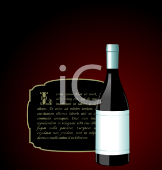 Royalty Free Clipart Image of Wine and an Invite Card