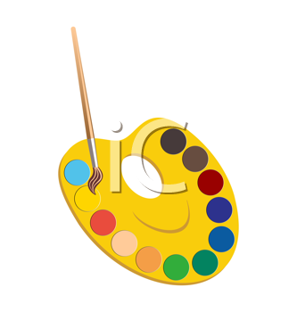 Royalty Free Clipart Image of Paints and Paintbrush