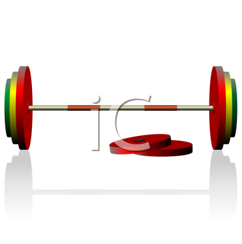 Royalty Free Clipart Image of a Barbell and Weights