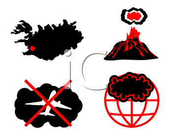 Royalty Free Clipart Image of a Set of Volcano Icons