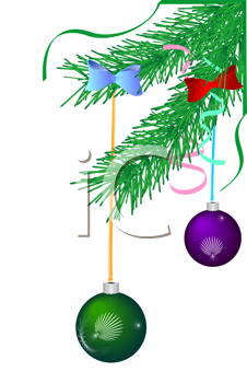 Royalty Free Clipart Image of a Christmas Tree With Ornaments