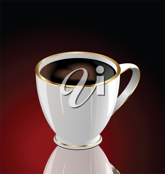 Illustration of coffee cup with love heart on dark red background - vector