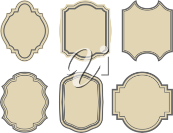 Illustration set of stickers, vintage frames - vector