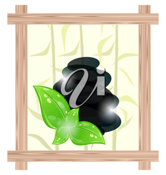 Illustration wooden frame with cairn stones and eco green leaves - vector