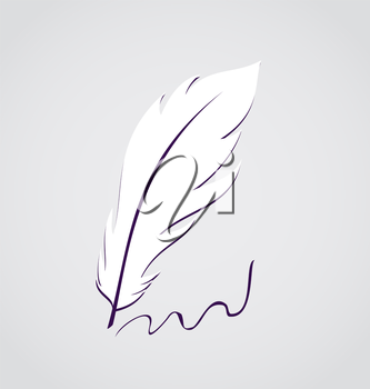 Illustration white feather calligraphic pen isolated - vector