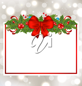 Illustration Christmas elegant card with holiday decoration - vector