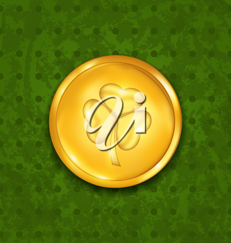 Illustration golden coin with three leaves clover. Grunge St. Patrick's background - vector