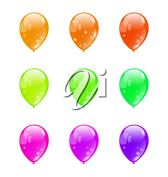 Illustration set colorful balloons isolated on white background (2) - vector