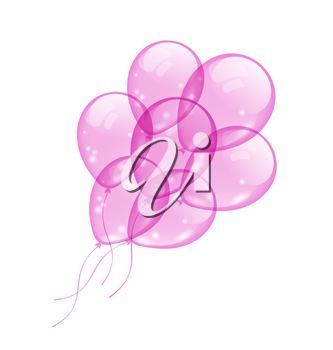 Illustration flying pink balloons isolated on white background - vector