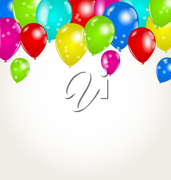 Illustration holiday background with multicolor balloons - vector