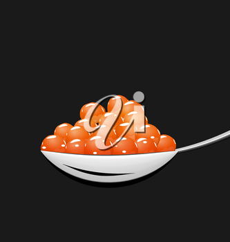 Illustration teaspoon with red caviar isolated on black background - vector