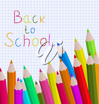 Illustration back to school message with pencils on paper sheet background - vector