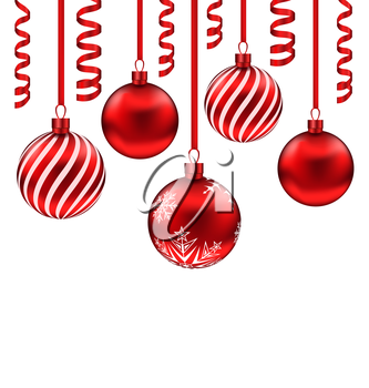 Illustration set red glass balls with serpentine for Merry Christmas, isolated on white background - vector