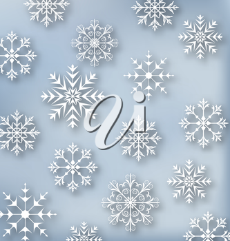 Illustration Christmas blue wallpaper with set snowflakes - vector