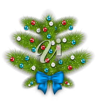 Illustration decorated abstract Christmas tree with glass balls - vector