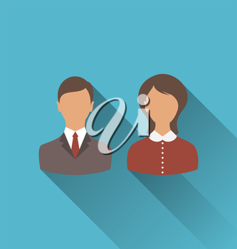 Illustration male and female user avatars. Flat icons with long shadow - vector
