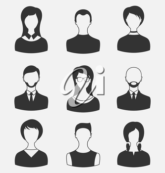 Illustration set business people, different male and female user avatars isolated on white background - vector
