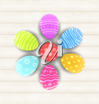 Illustration Easter set painted eggs on wooden texture - vector
