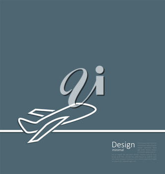 Illustration web template logo of plane in minimal flat style line - vector