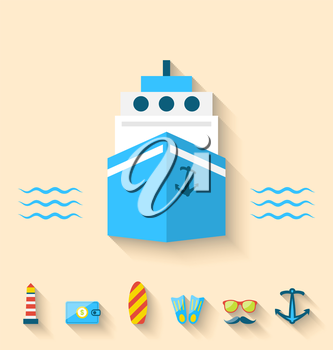 Illustration flat set icons of cruise holidays and journey vacation, minimal style with long shadow - vector