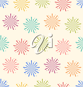 Illustration Seamless Pattern Colorful Firework for Holiday Celebration Events - Vector