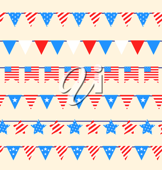 Illustration Hanging Bunting Pennants for American Holidays, National Symbolic Decoration - Vector