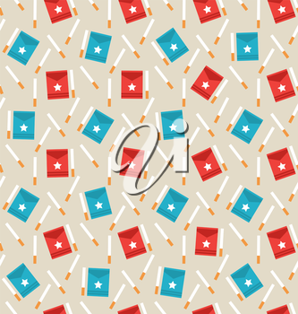 Illustration Seamless Pattern of Package Boxes and Cigarettes, Modern Flat Icons - Vector