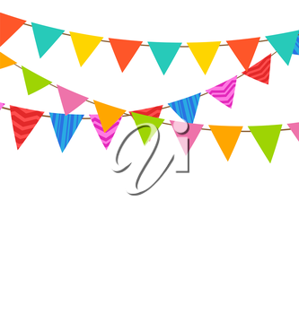 Illustration Set Bunting Pennants with Ornamental Texture, Holiday Decoration - Vector