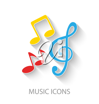 Illustration Colorful Stylish Music Icons with Long Shadows - Vector