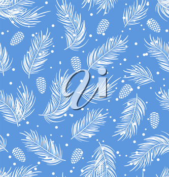 Illustration Seamless Pattern with Fir Branches and Cones, Winter Wallpaper - Vector