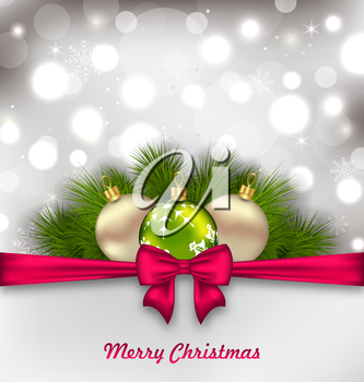 Illustration Christmas Shimmering Postcard with Fir Branches and Glass Balls - Vector