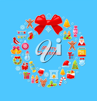 Illustration Christmas Wreath Assembled from Colorful Traditional Objects. Flat Simple Style Elements - Vector