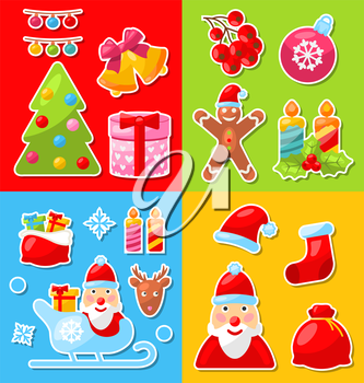 Illustration Christmas and Winter Celebration Traditional Elements and Objects - Vector