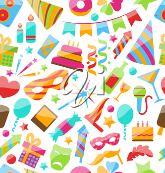 Illustration Festive Seamless Wallpaper with Carnival and Party Colorful Icons and Objects - Vector