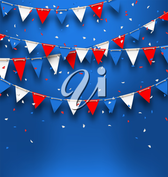 Illustration Bright Background with Bunting Flags for American Holidays, Patriotic Colors of USA - Vector