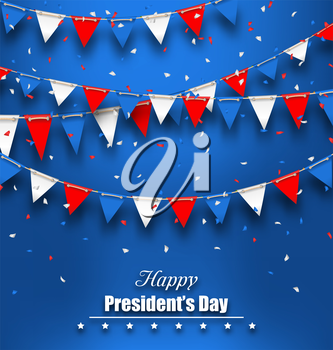 Illustration Patriotic Background with Bunting Flags for Happy Presidents Day, Colors of USA - Vector