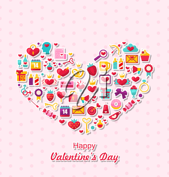 Illustration Collection of Modern Flat Design Icons for Happy Valentine's Day, Romantic Symbols Arranged in Form of Heart - Vector