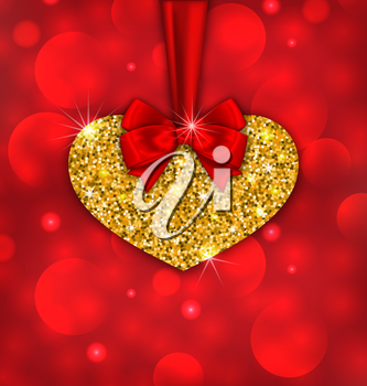 Illustration Shimmering Golden Heart with Red Ribbon and Bow for Happy Valentines Day, on Glow Background - Vector