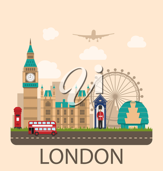 Illustration Design Poster for Travel of England. Urban Background. Concept of Travel and Tourism Banner. Famous Landmarks. Vintage Style - Vector