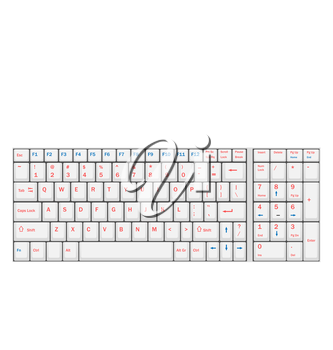 Illustration Computer Realistic White Keyboard Ioslated on White Background - Vector
