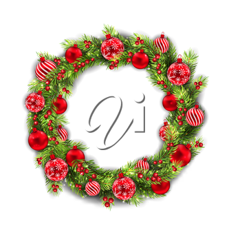 Illustration Christmas Wreath with Balls, New Year and Christmas Decoration, on White Background - Vector