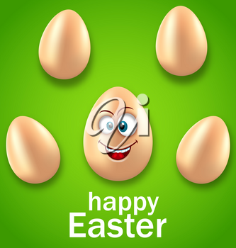 Illustration Happy Easter Card with Crazy Egg, Humor Invitation - Vector
