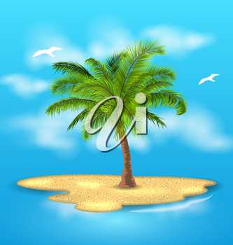 Illustration Tropical Island with Palm Tree, Outdoor, Vacation, Landscape - Vector