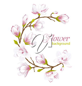 Illustration Round Frame Made of Beautiful Magnolia Flowers. Wedding Card - Vector