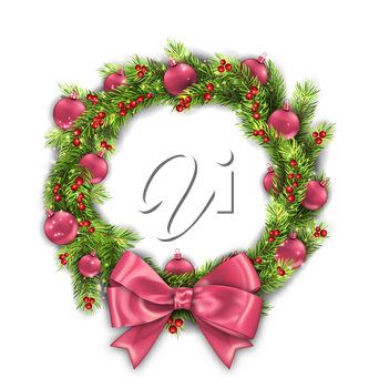 Christmas Wreath with Pink Balls and Bow, New Year Decoration on White Background - Illustration Vector