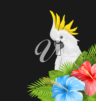 Parrot White Cockatoo with Colorful Hibiscus Flowers Blossom and Tropical Leaves, Exotic Background - Illustration Vector