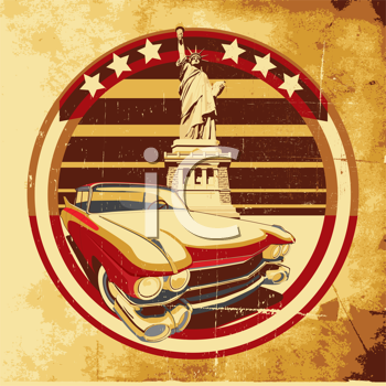 Royalty Free Clipart Image of an Old Car and the Statue of Liberty