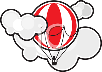 Royalty Free Clipart Image of a Hot Air Balloon in Clouds