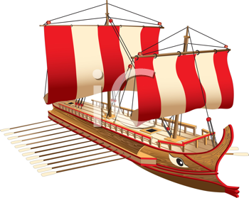 Royalty Free Clipart Image of a Greek War Ship