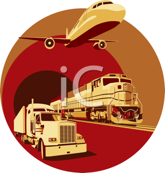 Royalty Free Clipart Image of a Transportation Vignette
